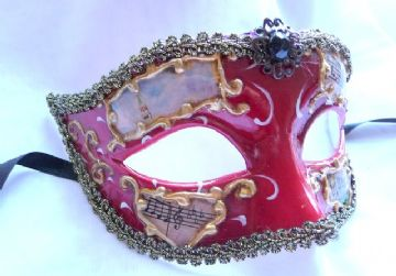 Gents Red & Gold music half mask (1)
